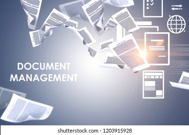 Document management text over gray background with papers swirling around and electronic document icons. 3d rendering toned image