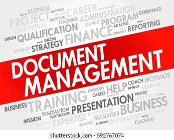 Document Management word cloud collage, business concept background
