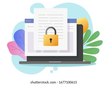 Document secure confidential online access on computer laptop or internet web privacy protection on text file flat cartoon, concept of private secret website data lock modern design colorful image