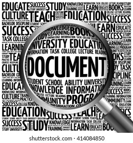 DOCUMENT word cloud with magnifying glass, concept
