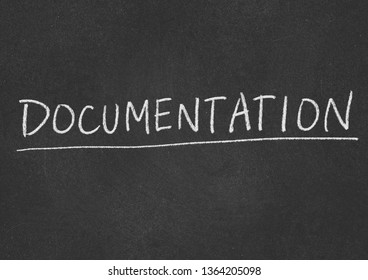 documentation concept word on a blackboard background