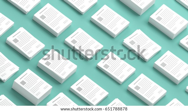 Documents collection on a green background 3D Illustration