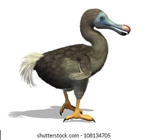The dodo is an extinct flightless bird that lived on an island east of Madagascar in the Indian Ocean - 3d render with digital painting.