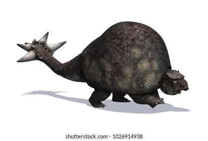 The Doedicurus was a prehistoric animal that lived during the Pleistocene era - 3D render.