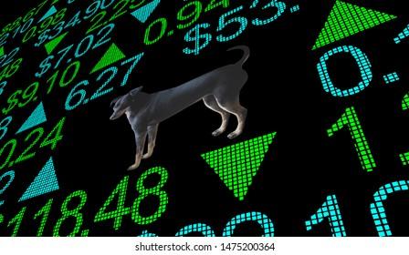 Dog Animal Pet Stock Market Business 3d Illustration