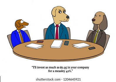 A dog is being a shart investor