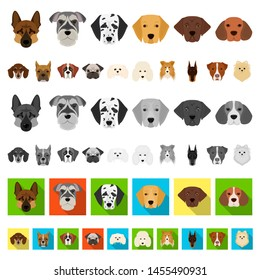 Dog breeds cartoon icons in set collection for design.Muzzle of a dog bitmap symbol stock web illustration.