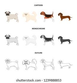 Dog breeds cartoon,outline,monochrome icons in set collection for design.Dog pet bitmap symbol stock web illustration.