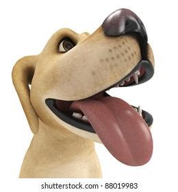 dog cartoon begging big face