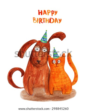 Dog And Cat In Party Hat Happy Birthday Watercolor Illustration Hand Drawing
