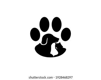 dog and cat paw logo design inspiration