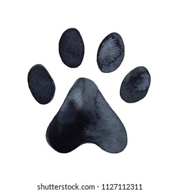 Dog or cat paw print graphic illustration. Cute animal element for decoration, design, craft projects, scrapbooking, pet tags. Hand drawn watercolour drawing on white background, isolated clip art.