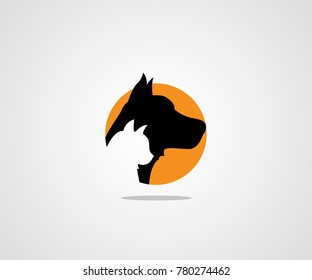 DOG CAT PET SHOP SIMPLE LOGO ICON SYMBOL TEMPLATE   logo design template for pet shops, veterinary clinics and homeless animals shelters - icons of cats and dogs - badges for websites and prints