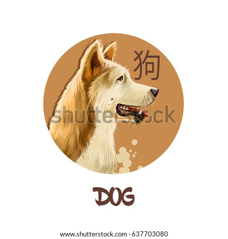 Dog chinese horoscope character isolated on white background. Symbol Of New Year 2018. Pet puppy animal in round circle with hieroglyphic sign, digital art realistic illustration, greeting card design