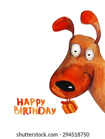 Dog from corner with present. Happy birthday. Watercolor illustration. Hand drawing