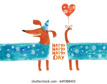 Dog dachshund very long in festive cap with balloon heart. Watercolor illustration. Hand drawing