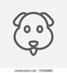 Dog Emoji Icon Line Symbol Isolated Stock Vector (Royalty Free