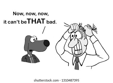 A dog executive sees a stressed out male executive in the hallway