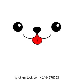 Dog eyes, nose, red tongue. Cute cartoon puppycharacter. Head face silhouette square icon. Contour line. Kawaii animal. Funny baby pooch. Love card. Flat design. White background