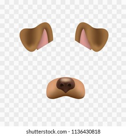 Dog face mask for video chat isolated on checkered background. Animal character ears and nose. 3d filter effect for selfie photo decoration. Brown dog elements.