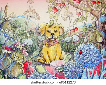 Dog and flowers, oil paintings landscape