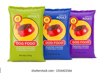 Dog Food Bag Packages Design on a white background. 3d Rendering