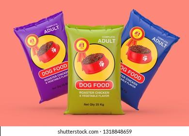 Dog Food Bag Packages Design on a pink background. 3d Rendering