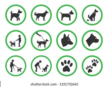 dog friendly sign, pets allowed icons set