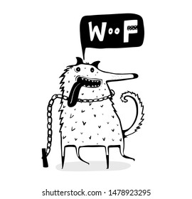 Dog funny outline cartoon barking. Scandinavian style Cute doggie saying woof with drawn speech bubble.