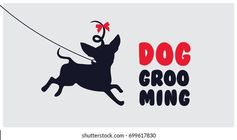 Dog grooming.Logo for dog hair salon. Dog beauty salon logo. Pet grooming salon