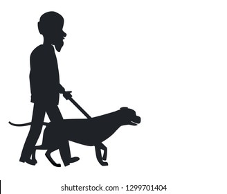 Dog guide silhouette old man holding pet by cane thin stick raster illustration isolated on white. Poster with text of deaf or blind grandpa and animal helper