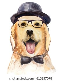 The dog in the hat. Watercolor.