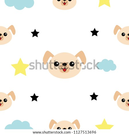 Dog Head Hands Cloud Star Shape Stock Illustration 1127513696