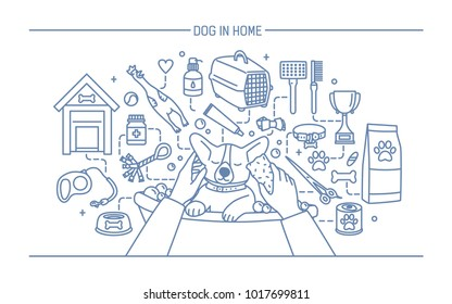 Dog in home contour banner with pet toys, meds and puppy meals. Horizontal outline line art illustration