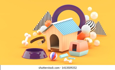 The dog house is surrounded by a dog food bowl, ball, bones and collar, surrounded by colorful balls on an orange background.-3d rendering.