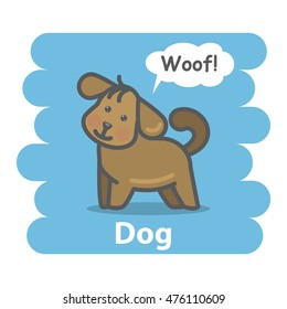 Dog illustration on isolated background.Cute Cartoon dog domestic animal character speak Woof on a speech bubble.From the series what the say animals