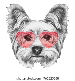 Dog in Love! Portrait of Yorkshire Terrier, hand-drawn illustration