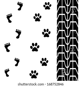 dog and man footprints with tire tracks