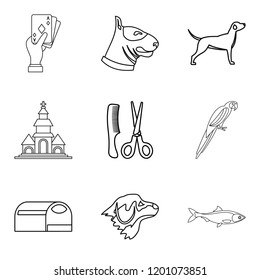 Dog menagerie icons set. Outline set of 9 dog menagerie icons for web isolated on white background