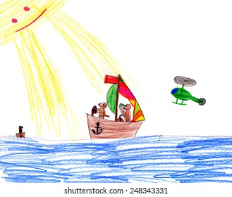 dog on sailboat. child drawing.
