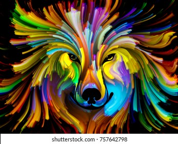 Dog Paint series. Abstract design made of colorful dog portrait on the subject of art, imagination and creativity