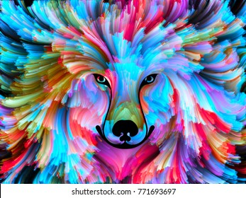 Dog Paint series. Background design of colorful dog portrait on the subject of art, imagination and creativity