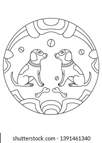Dog pattern. Illustration of dogs. Mandala with an animal.  Dogs in a circular frame. Coloring page for kids and adults.