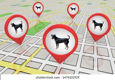 Dog Pet Animal Stores Kennels Adoption Centers Map Pins Locaitons 3d Illustration