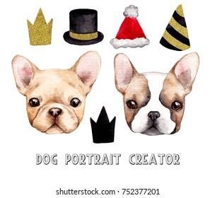 Dog portrait creator. Hand drawn watercolor illustration