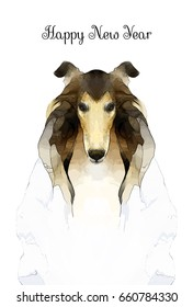 Dog portrait  for new year card, rough collie