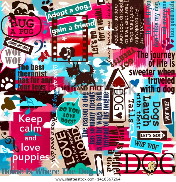 Dog Puppy Slogans Sayings Quotes Background Stock Illustration
