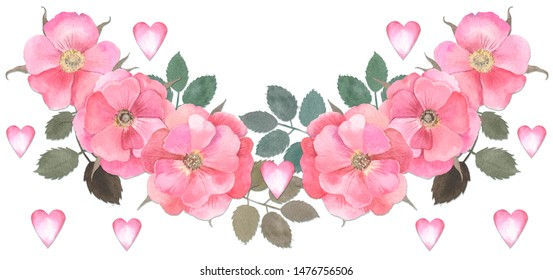 Dog rose border. of flowers wild rose. on white background. composition of leaves and flower. watercolor hand drawn. heart and love. Valentine's day