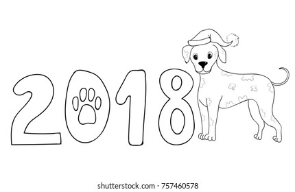 Cute Pomeranian Santa Coloring Page 2018 Stock Vector (Royalty Free ...