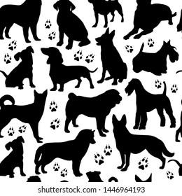 Dog seamless design surface pattern on white.